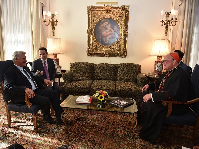 Sostiene Díaz-Canel encuentro con Arzobispo de Nueva York