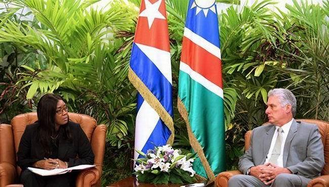 Recibió Díaz-Canel a la Primera Ministra de Namibia. Foto: CubaMINREX/ Twitter