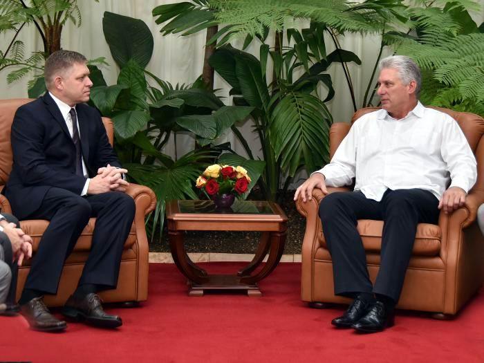 Recibe Díaz-Canel a Robert Fico. Foto: Estudios Revolución