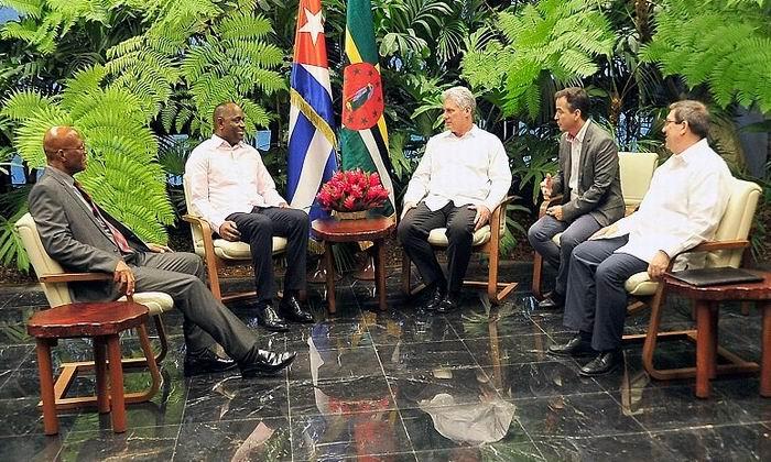 Recibió Díaz-Canel a Primer Ministro de Dominica. Foto: Geovanis Fernández