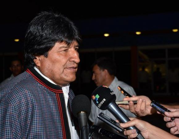Bolivian President Evo Morales in an official visit to Cuba