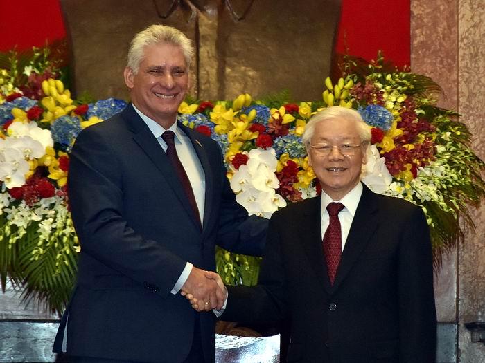 Recibió Nguyen Phu Trong a Díaz-Canel en visita oficial a Vietnam