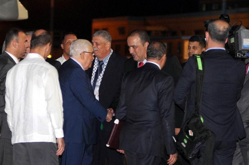 Mahmoud Abbas, presidente del Estado de Palestina, a su llegada al Aeropuerto Internacional José Martí, en La Habana, Cuba, en visita oficial, el 10 de mayo de 2018. Foto: Omara García