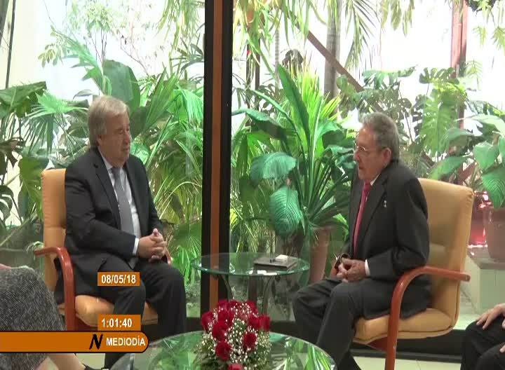 Raúl Castro meets with UN Secretary General