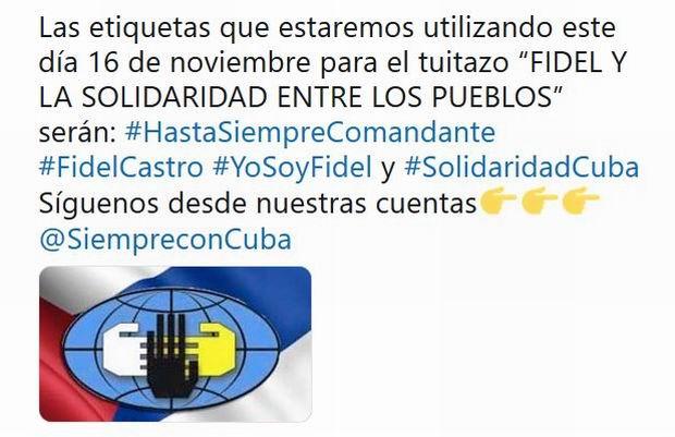 Convocan en Cuba tuitazo mundial en homenaje a Fidel Castro
