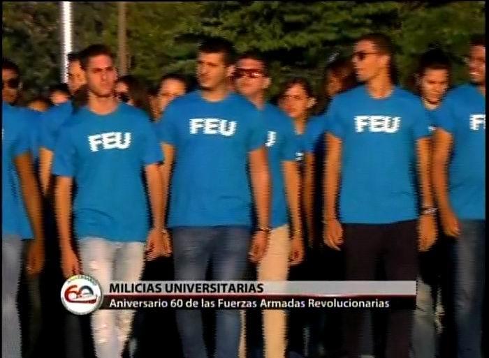 Milicias universitarias en la Revista Militar y marcha del pueblo combatiente en Cuba