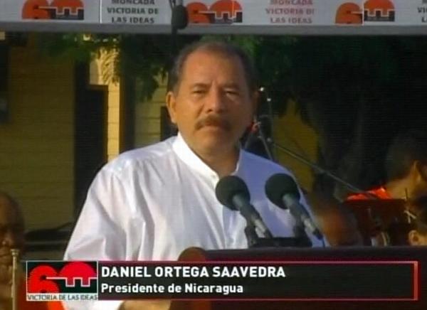 El presidente de Nicaragua, Daniel Ortega, hizo uso de la palabra en la celebración que tiene lugar  en Santiago de Cuba por el Día de la Rebeldía Nacional