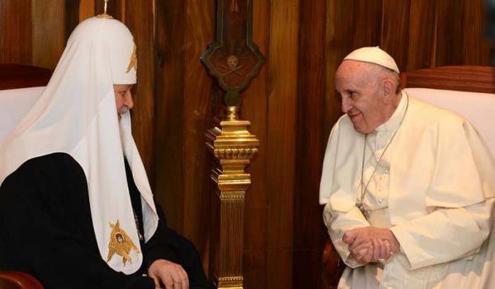 El Papa Francisco y el Patriarca Kirill de Moscú y de Toda Rusia en La Habana
