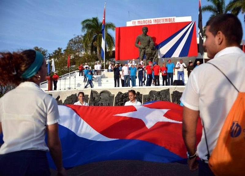 Jóvenes protagonizan la fiesta grande del proletariado, en Sancti Spíritus, Cuba, el 1 de mayo de 2016. ACN FOTO/ Oscar ALFONSO
