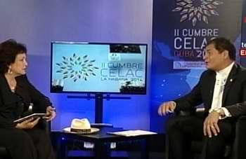 En entrevista exclusiva que realizara la cadena multinacional Telesur al presidente del Ecuador, Rafael Correa, resaltan algunas ideas claves que sustentan el lema que lidera la II Cumbre de la CELAC en la Habana: la lucha contra el hambre, la pobreza y la desigualdad. Foto Telesur