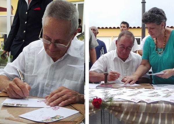 Junto al combatiente Ernesto González Campos, se cancelaron los sellos Lázaro Expósito, Primer Secretario del Partido Comunista de Cuba en la provincia de Santiago de Cuba. Foto Miozotis Fabelo