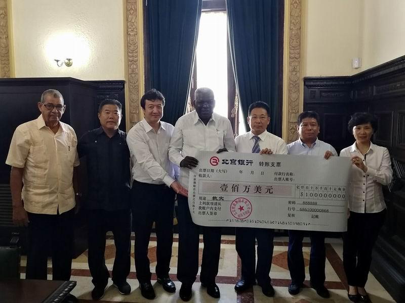 Empresa china dona un millón de dólares a Cuba para su recuperación