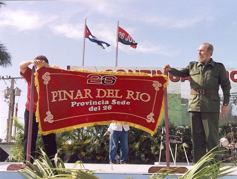 Fidel en Pinar del Río, sede del Acto por el  Aniversario 47 del Asalto a los cuarteles Moncada y Carlos M. de Céspedes