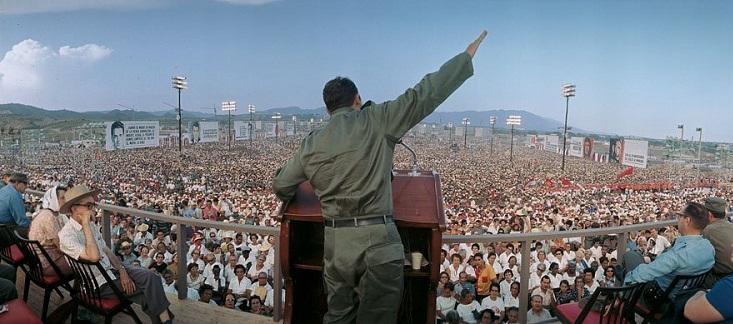 Fidel, durante un discurso en Santiago de Cuba