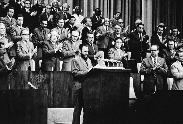 Intervención de Fidel Castro en el Primer Congreso del Partido Comunista de Cuba,  celebrado en diciembre de 1975. Foto: Granma