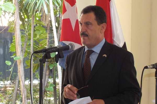 El Encargado de Negocios de la República Árabe Siria, Ghassam Haidar agradeció a Cuba las manifestaciones solidarias hacia su país. Foto Abel Rojas