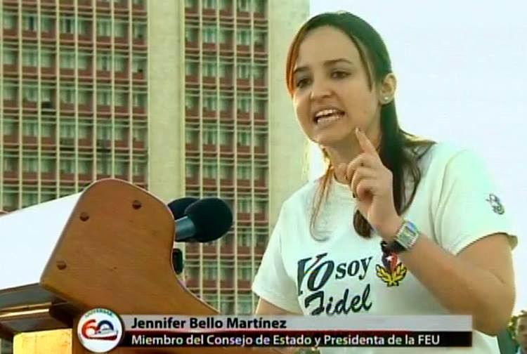 Las palabras centrales estuvieron a cargo de Jennifer Bello, miembro del Consejo de Estado y presidenta de la Federación Estudiantil Universitaria (FEU)
