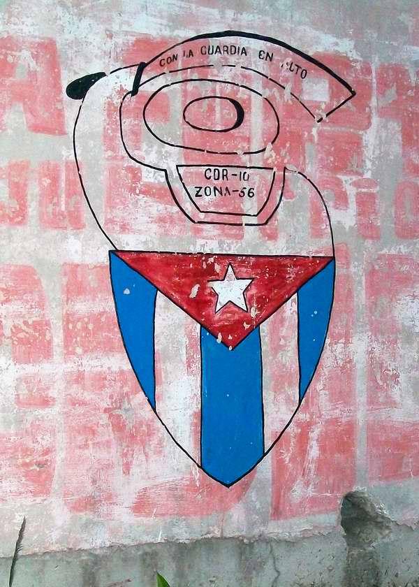 Bandera cubana en los logos del CDR
