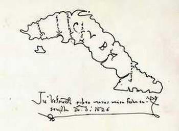 """Mapa elaborado por el cartógrafo y cosmólogo florentino Juan Vespucci, fechado en 1526 en Sevilla, donde se detalla entre otros toponímicos, el de la """"bahía de la matança""""."""