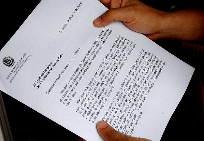 Presidente Nicolás Maduro envía mensaje al VII Congreso del PCC