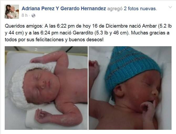 Nacimiento de Ámbar y Gerardito, hijos de Adriana y Gerado