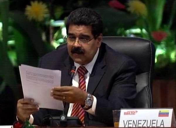 Nicolás Maduro, Presidente de Venezuela, da lectura a la Declaración Final de la XIII Cumbre ALBA-TCP.