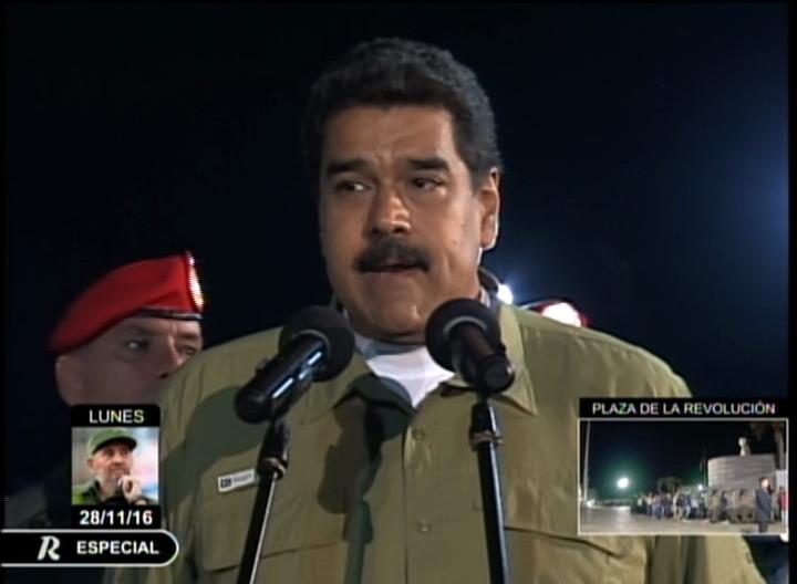 Presidente de Venezuela en Cuba para rendirle tributo póstumo a Fidel.