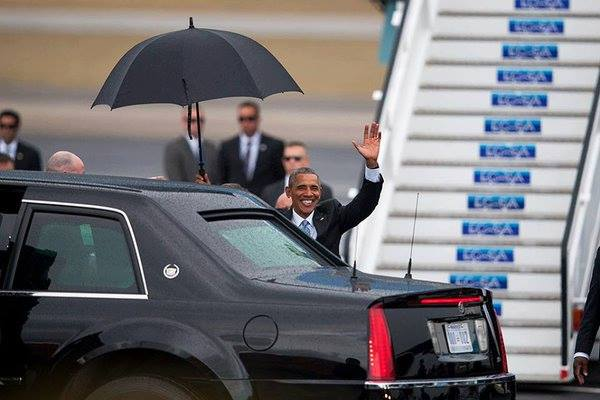 Presidente Barack Obama ya está en territorio cubano. Foto: Twitter Telesur