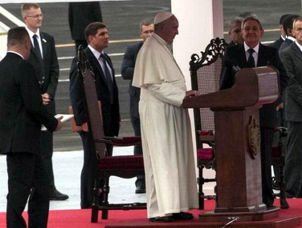 Alocución del Papa Francisco a su llegada a Cuba. Foto: Roberto Suárez