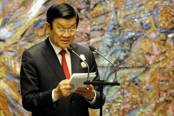 Truong Tan Sang, Presidente de la República Socialista de Vietnam, interviene tras recibir la Orden Nacional José Martí, máxima condecoración que otorga la República de Cuba, en ceremonia realizada en el Palacio de la Revolución.Foto: Roberto Morejón