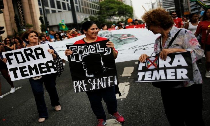 Tributo a Fidel en Brasil. Foto: Reuters