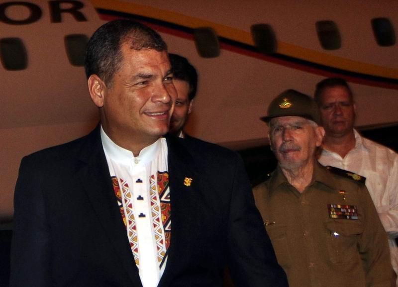 Ecuador President Rafael Correa arrived in Cuba