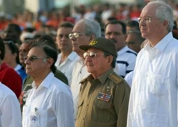 Raúl Castro en Villa Clara celebrando el 26 de julio
