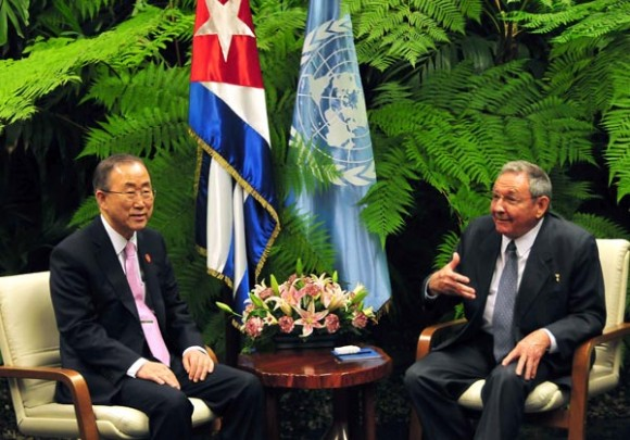 Raúl Castro y Ban Ki-moon. Foto: Ricardo López Hevia