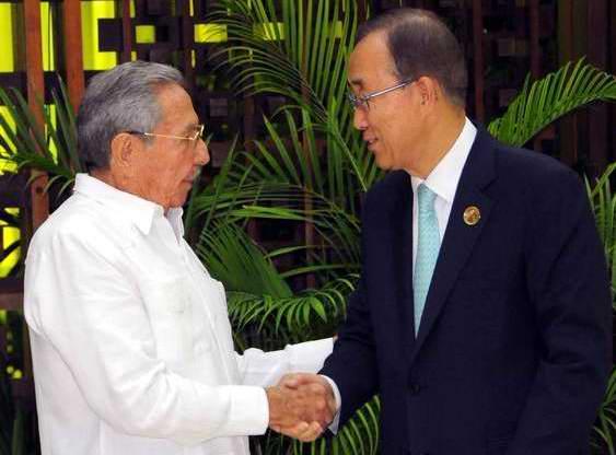 Raul and Ban Ki-moon Meet in Havana