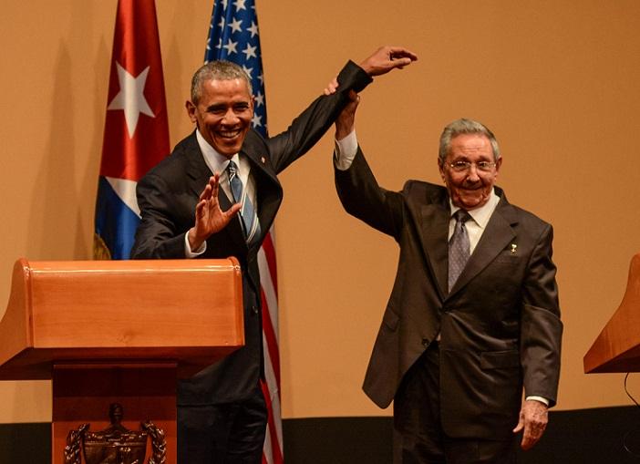 Ofrecen Raúl Castro y Barack Obama declaraciones a la prensa. Foto: Marcelino Vázquez