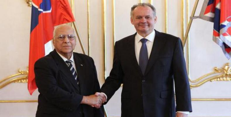 President of Slovakia Receives Top Cuban Official