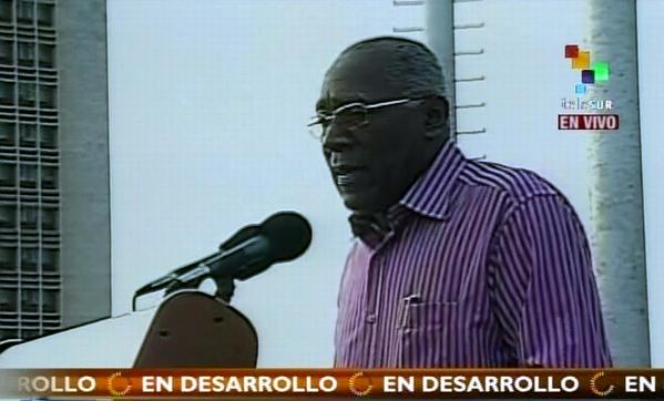 Palabras del miembro del Buró Político y secretario general de la CTC, Salvador Valdés Mesa. Foto: Tomada de la TV