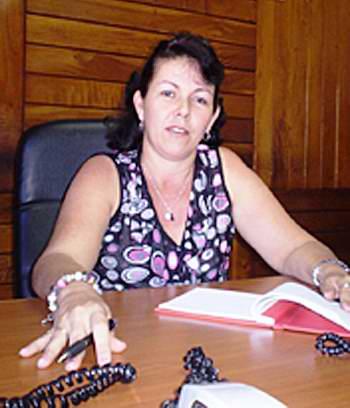 La secretaria general de la Central de Trabajadores de Cuba, Isdalis Rodríguez Rodríguez