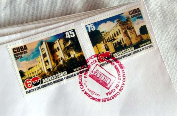 Cancelan sello postal conmemorativo por los 60 años del Moncada. Foto Miozotis Fabelo