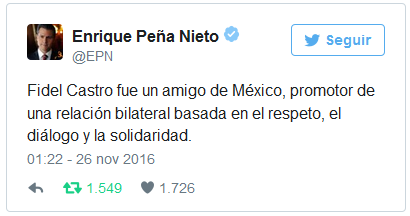 Mexican president Enrique Peña Nieto said the Cuban Revolution leader was a friend of his country