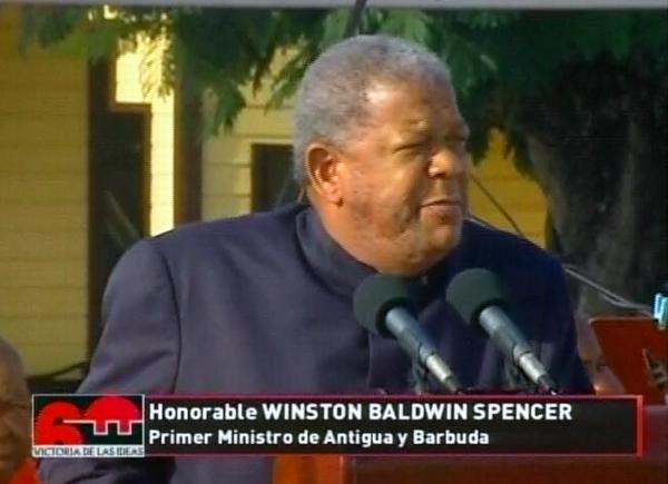 Winston Balwin Spencer, primer ministro de Antigua y Barbuda, durante el acto por el aniversario 60 de los hechos del 26 de Julio