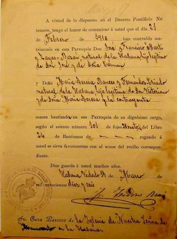 Acta de matrimonio entre de José Francisco Martí Zayas Bazán con María Teresa Bances y Fernández Criado se intenta sustraer de Cuba. Foto José Miguel Solís