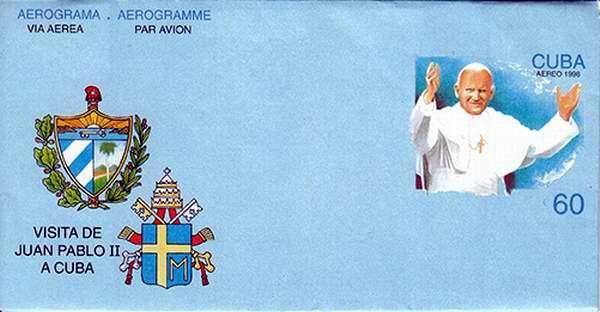 De igual manera se puso a disposición de los coleccionistas y el público en general, un aerograma que en su parte posterior cuenta con las imágenes de la Catedral de La Habana, la Catedral de Santiago de Cuba y la Basílica de Nuestra Señora de la Caridad del Cobre.