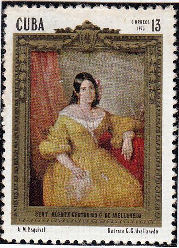 La imagen de Gertrudis Gómez de Avellaneda, Tula, aparece en otra pieza, en 1973, con motivo de los cien años de su muerte en España, que reproduce un retrato de A. M. Esquivel