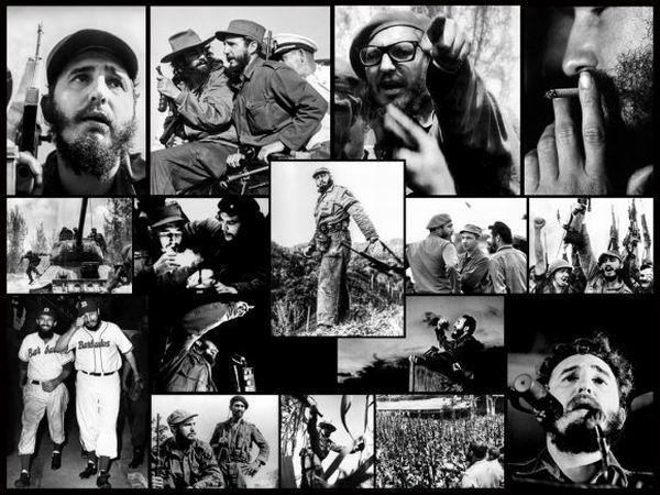 """Collage """"Fidel"""". Fidel, Fotos de Enrique Meneses, Robert Taber, Perfecto Romero, Luis Korda, Alberto Korda, Osvaldo Salas, Roberto Salas, Raúl Corrales, Liborio Noval, Mario Collado, Andrew St. George."""