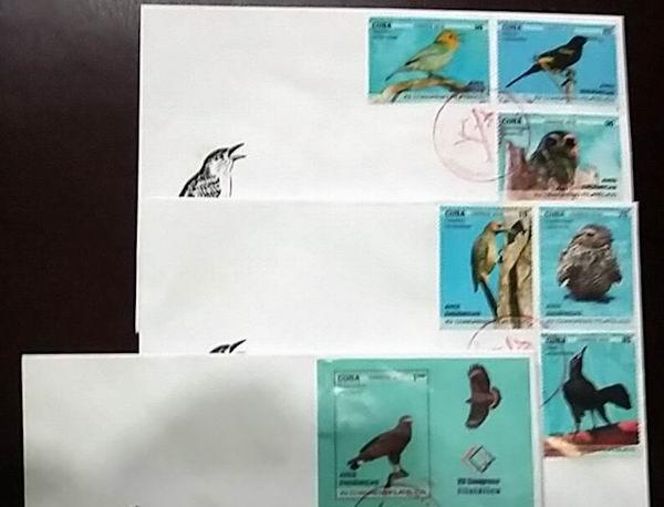 Aves en la más reciente emisión postal cubana