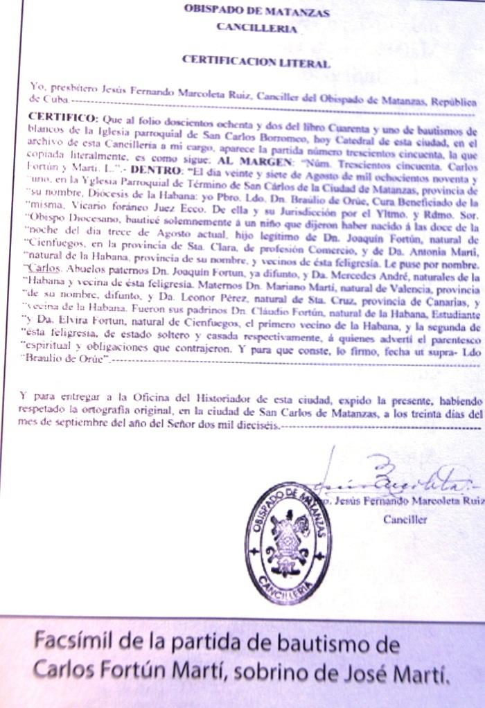 Carlos Fortún Martí, sobrino matancero del Maestro