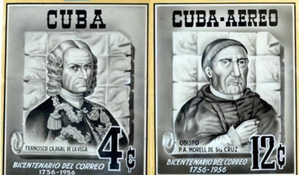 A los esfuerzos de Francisco Cajigal de la Vega y el Obispo Pedro Morell de Santa Cruz la implantación del servicio de correos en Cuba.