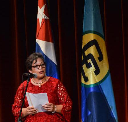 Intervención de Lou-Anne Burns-Martínez, embajadora de Belice en Cuba.